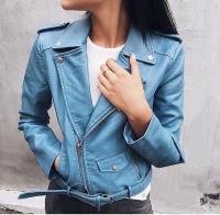 Куртка экокожа с кармашком и ремнем голубая ZI DT