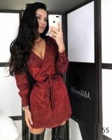 Платье люрекс на запах с поясом красное X118