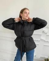 Куртка с поясом черная ZI