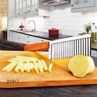 Кухонный волнистый нож для фигурной нарезки овощей и фруктов с деревянной ручкой