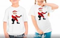 Детская футболка Дед мороз с гитарой белая Xi
