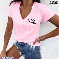 Футболка треуголный вырез сердечко LOVE розовая SV