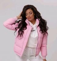 Куртка стойка ворот на молнии розовая ZI T124