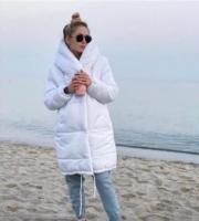 Удлиненная куртка на молнии белая ZI