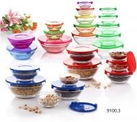 Набор стеклянных салатников с крышками 5 предметов
