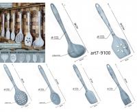Набор кухонных принадлежностей силиконовых из 6-ти предметов / Лопатка / Шумовка / Половник / Ложка