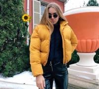 Куртка дутик стойка ворот желтая ZI T124 D31