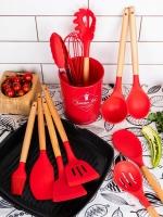 Набор кухонных принадлежностей из 11 предметов с деревянной ручкой