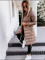 Болоневое пальто на кнопках каппучино ZI