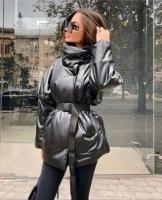 Куртка экокожа стойка ворот черная T124