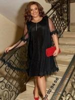 Платье SIZE PLUS люрекс песок + сетка черное H109 RX1-48