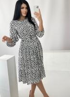 Платье с поясом лепесточки белое RH122