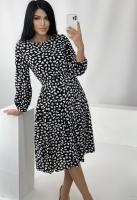 Платье с поясом лепесточки черное RH122