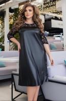 Платье SIZE PLUS верх сетка, низ под кожу черное KH110