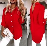 Блузка лайт с вырезом на спине красная A116