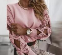 Кофточка крепун пайетки на рукавах розовая A133
