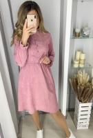 Платье вельвет пояс резинка розовое K115