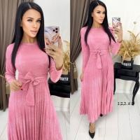 Платье плиссерованный низ с поясом розовое RH122