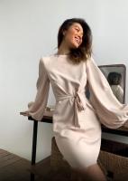 Платье барби с поясом рукава фонарики кремовое RH06 O114