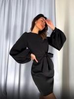 Платье барби с поясом рукава фонарики черное RH06 O114
