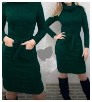 Платье ангора софт с поясом ворот хомут зеленое KH