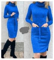 Платье ангора софт с поясом ворот хомут синее KH