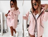 Куртка комбинированная розовая O114 KH