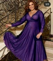 Платье люрекс+фатин SIZE PLUS фиолетовое RH122