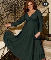 Платье люрекс+фатин SIZE PLUS зеленое RH122