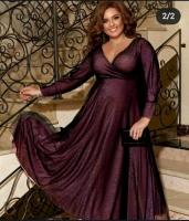 Платье люрекс+фатин SIZE PLUS бордо RH122