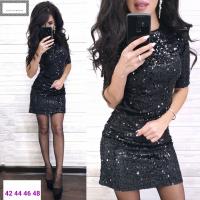 Платье пайетки на велюре черное RX1-48 104